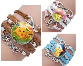 "Pokemon Pikachu Charm Faux Leather Bracelet Fits Wrist 6""to 8.5"" ~ Choose Color ~ Ladies Women's Pikachu Pokemon Charm Bracelet"