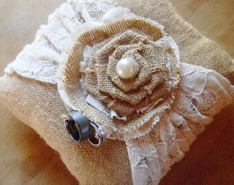 Ring Bearer Pillow, Bridal Accessories, RIng Pillow, BurlapandLace, Ring Bearer, Bridal Pillow, Wedding Pillow, Burlap Lace Pillow, Rustic