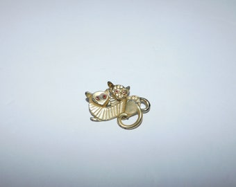 Slightly Odd Double Cat Brooch Pin with Rhinestone Accents