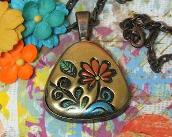 Orange Daisy Flower Hippie Boho Chic Pendant Necklace Polymer Clay Jewelry, Orange Gold Copper Blue Flower Charm Pendant Necklace