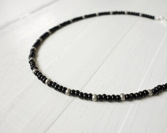 Beaded necklace black bead necklace minimalist beaded choker small bead necklace for men for women
