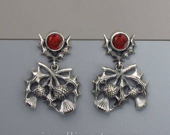 Blooming Thistle silver earrings with Garnets