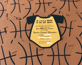 Sport themed basketball baby shower invitations shaped like a onesie!