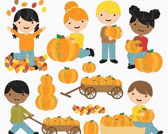 pumpkin patch clipart clip art digital - Pumpkin Patch Kids Digital Clipart - BUY 2 GET 2 FREE