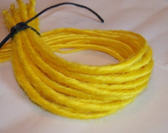 10 SE Single Ended Synthetic Dreads Bright Yellow Dreadlock Braid Hair Extensions