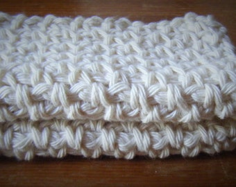 Set of 2 Cotton Crochet Cloths for Bodies or Dishes! Cream