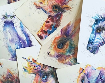 Animal Art size A4 Watercolour Painting printed on watercolor paper, each is hand signed by Sophie Appleton
