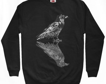 Dual Raven Sweatshirt - Men S M L XL 2x 3x - Crewneck, Bird, Crow, Nature, Horror, Mystery, Death - 2 Colors