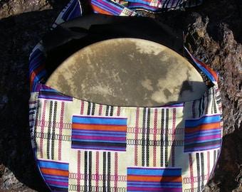 Drum Case, Mombassa Kenya Print, Tribal Drum Bag, 15 inch Hoop Drum