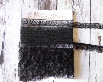 Vintage black ruffled and flat lace totalling over 6 metres
