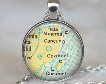Cancun/Cozumel map pendant, Cancun map necklace, Cozumel map necklace, Cancun necklace, Cozumel keychain
