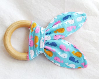 Natural Wooden Teether with Crinkles - Bright Bitty Whales with Minky Dot - New Baby Girl Gift - Natural Teething