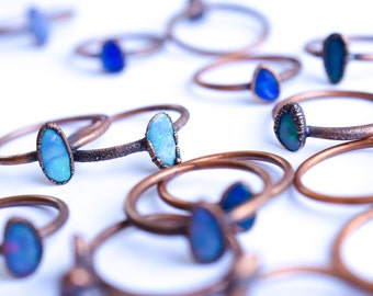 Opal stacking ring | Gemstone ring | Fiery opal ring | Stackable opal ring | Simple opal ring | Organic opal ring | Opal stackable ring