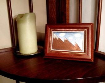 """Framed 'Mountain Peaks' illustration - 4 x 6"""""""