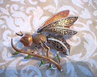 Vintage Large Damascene Wasp Dragonfly on Branch Brooch Spain