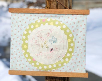 Sweet Embroidery Mini Quilt, Wall Hanging