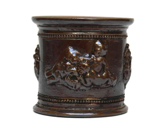 Antique Stoneware Tobacco Jar. French Tobacco Pot.  Small Terracotta Planter.