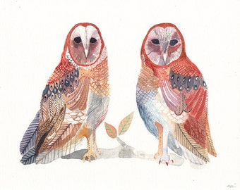 Two Barn Owls - Archival Print