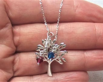 Personalized Mom Necklace, Birthstone Pendant Necklace, Personalized Jewelry, Tree of Life, Family Tree Necklace, Birthstone Necklace