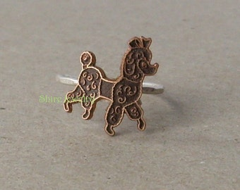 Poodle- Sterling Silver and copper -Stacking Ring