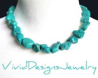 "Chunky One Strand Turquoise Nugget Statement Necklace- ""Megan"" Fox Necklace- Two Strand Necklace- Double Layer Turquoise Nugget Necklace"