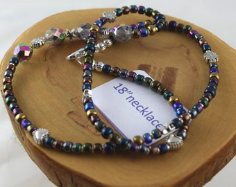 18 inch Shimmer metallic peacock colors crystal and seed bead choker necklace