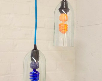 Upcycled Repurposed Wine Bottle Hanging Pendant Lamp color fabric cord swag light