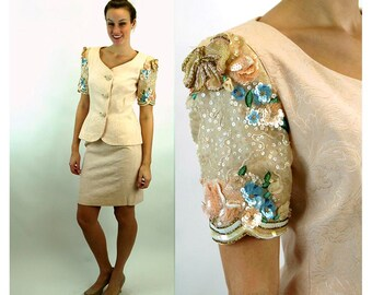 1980s suit skirt jacket pale pink damask sequin beaded Rickie Freeman Size S/M