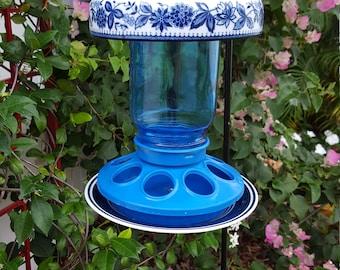 Blue and White Ceramic Bird Feeder