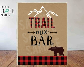 Lumberjack Sign Trail Mix Bar LUMBERJACK Trail Mix bar sign Lumberjack First Birthday Party Lumberjack baby shower instant download