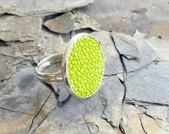 Lime green stingray leather ring, Greenery green cocktail ring, statement ring, shagreen leather ring, silver ring, fish leather ring
