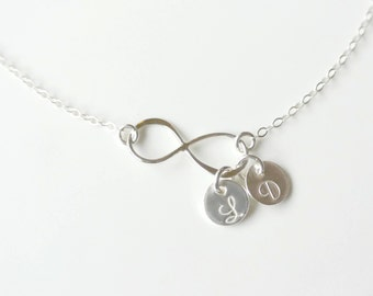 Personalized Infinity Necklace, Sterling SILVER Infinity Necklace, 1 2 3 4 5 6  Initials, Mother's Necklace, Family Jewelry, Bridesmaid Gift