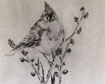 Small original bird painting black and white