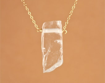 Quartz crystal necklace - crystal necklace - quartz wand - A chunky crystal quartz wire wrapped onto a 14k gold vermeil chain