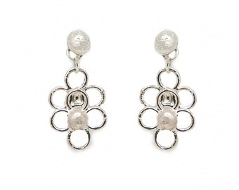 Silver flower earrings - floral earrings - sterling silver earrings - silver dangle earrings - bridesmaid gift for her
