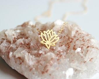 Lotus necklace - lotus necklace gold - lotus flower necklace - gold lotus necklace - yoga necklace - tiny lotus necklace - dainty necklace