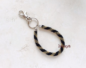 Nepal Beaded Bead Handmade Keychain Black Gold Key Fob Wristlets Key Ring Gift