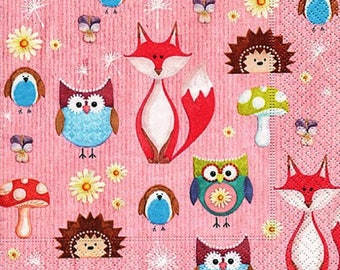 185 owls and FOXES pattern 4 X 1 towel paper 33 x 33 micro honeycomb paper