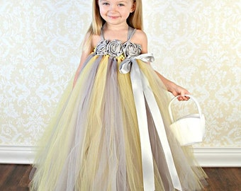 Flower girl dress yellow gray and silver flower girl dress flower girl dress yellow gray silver flower girl dress yellow tutu mightylinksfo