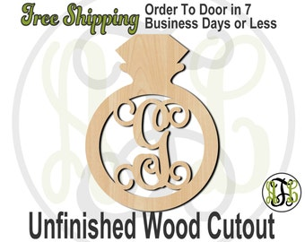 Diamond Ring Monogram - 300113M1- Personalized Cutout, Initial, unfinished, wood cutout, laser cut, wood cut out, Engagement, wooden sign