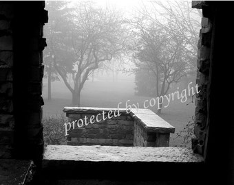 From the Window - Toronto Canada, Scarborough, black and white fine art photograph, home office decor, fog, Rosetta McClain, wall art