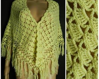 70s HAND knitted crochet lemon yellow acrylic fringed shawl S M L one size