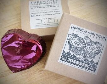 Dark Woods Raw Cacao: 2 Dark Chocolate Truffles w/ maple sugar & mushroom extract