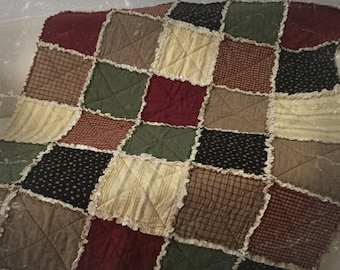 Country-style fabric rug, Rag quilt, patchwork quilt, quilt with warm colours, blanket from sofa, gift Idea, for Mom