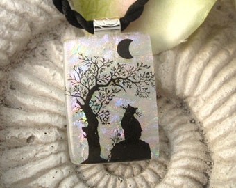 Necklace Included Waiting For the Full Moon Fused Dichroic Glass Pendant Jewelry 061910p100