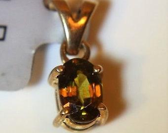 Lovely Little Oval Sphene 9ct Yellow Gold Pendant
