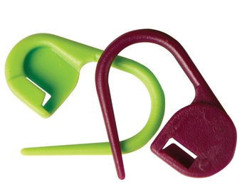 KnitPro Plastic Locking Stitch Markers, Pack of 30, Purple and Green