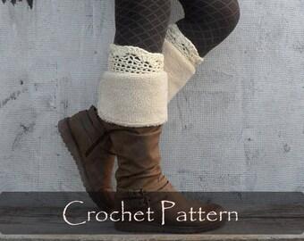 CROCHET PATTERN - Fanny Boot Cuffs Crochet Boot Tops Women Winter Boot Toppers Warm Boot Socks Instructions Crochet Diy PDF - P0060