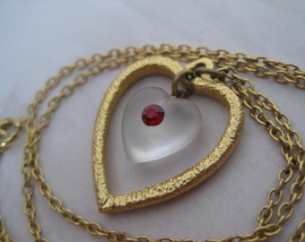Heart Red Rhinestone Necklace Gold Vintage Pendant Clear Dangle