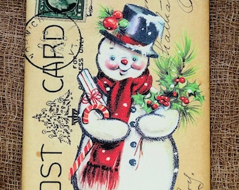 Retro Jolly Snowman Christmas Postcard Gift or Scrapbook Tags or Magnet #713